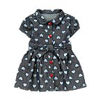 Heart Print Denim Dress