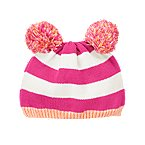 Stripe Pom Pom Sweater Hat