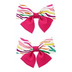 Zebra Stripe Bow Barrettes 2-Pack