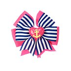 Anchor Heart Bow Barrette