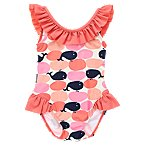 Ruffle Whale Print Swimsuit