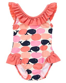 Crazy 8 Ruffle Whale Print Swimsuit Spring Break