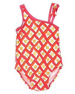 Crazy 8 Flower Tile One-Shoulder Swimsuit Spring Break