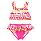 Neon Batik Two-Piece Swimsuit