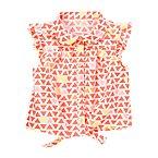 Front-Tie Geometric Print Shirt