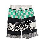 Skull & Bones Check Swim Trunks