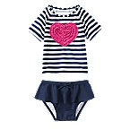 Ruffle Heart Stripe Rash Guard Set