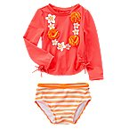 Tropical Lei Rash Guard Set