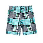 Faux Patchwork Plaid Shorts
