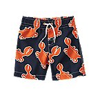 Crab Print Swim Trunks