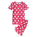 Heart Print Two-Piece Shortie Pajama Set