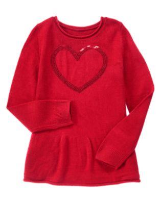 Shimmer Heart Peplum Sweater