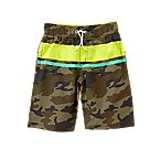Neon Stripe Swim Trunks