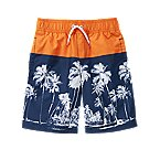 Palm Tree Colorblock Swim Trunks