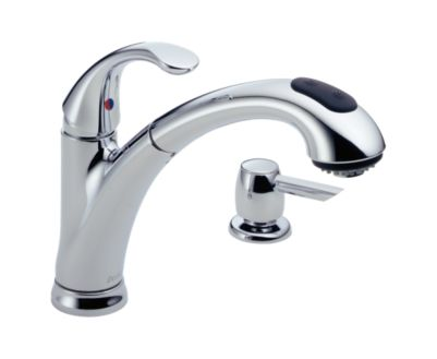 Delta Single Handle Pull-Out Kitchen Faucet with Soap Dispenser