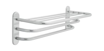 Delta 24″ Brass Towel Shelf with Two Bars, Concealed Mounting