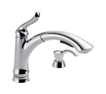 Linden Single Handle Pull-Out Kitchen Faucet with Soap Dispenser