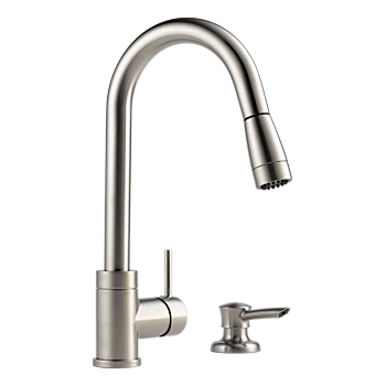 Integrated Pull-Down Kitchen Faucet with Soap Dispenser