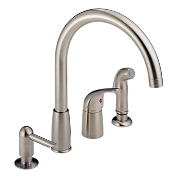 Single Handle Widespread Kitchen Waterfall with Soap Dispenser