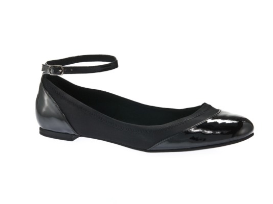 ankle-strap black flats