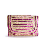 Poppie Jones Sequin Straw Clutch