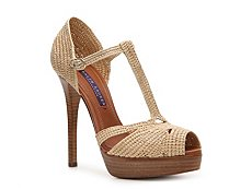 Ralph Lauren Collection Jedina Raffia Peep Toe Sandal