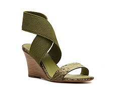 Donna Karan Reptile Leather & Fabric Wedge Sandal