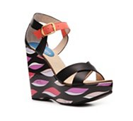 Emilio Pucci Leather Printed Wedge Sandal