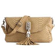 Poppie Jones Snakeskin Tassel Flap Crossbody Bag