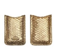 Sergio Rossi Metallic Snakeskin Leather Tech Case