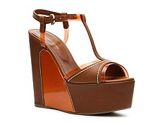 Sergio Rossi Leather Wedge Sandal