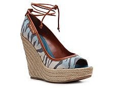 Sergio Rossi Printed Canvas Wedge Pump