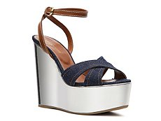 Sergio Rossi Denim Wedge Sandal