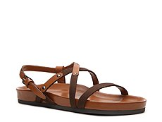 Sergio Rossi Leather & Canvas Flat Sandal