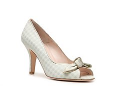 Bally Chrissie Gingham Fabric Peep Toe Pump