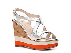 Prada Metallic Leather Wedge Sandal