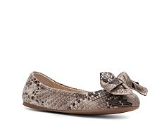 Prada Reptile Leather Bow Flat