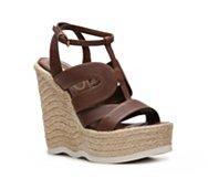 Saint Laurent Leather Wedge Sandal