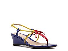 Fendi Color Block Leather Wedge Sandal