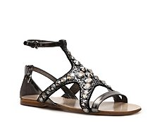Miu Miu Metallic Leather Jewel Flat Sandal