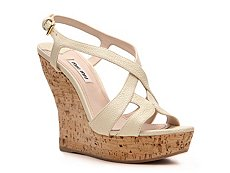 Miu Miu Pebbled Leather Wedge Sandal