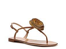 Giuseppe Zanotti Leather Flower Flat Sandal