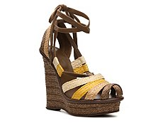 Bottega Veneta Multicolor Straw Wedge Sandal