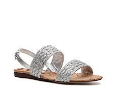 Stella McCartney Ferron Metallic Fabric Flat Sandal