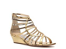 Jimmy Choo Hedda Metallic Leather Wedge Sandal