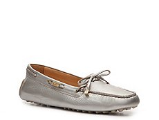 Santoni Metallic Leather Bow Moccasin