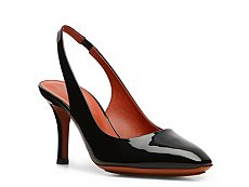 Santoni Patent Leather Slingback Pump