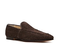 Santoni Suede Basketweave Loafer
