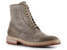 Santoni Distressed Leather Brogue Boot