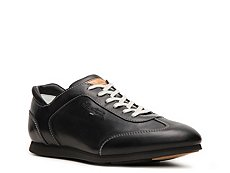 Santoni Leather Nameplate Sneaker